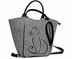 BLACK CAT BAGWomen felt bag Cat bag Felt tote by BPStudioDesign
