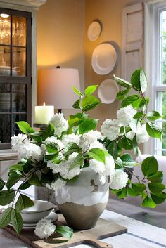 Love the two tone hutch and indoor shutters. My Sweet Savannah: ~its snowing in June~ Snowball Plant, Snowball Viburnum, Fresh Flowers, White Flowers, Beautiful Flowers, Fake Flowers, Artificial Flowers, Country Living Decor, Dyi