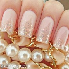 Simple Pink Wedding Nails.