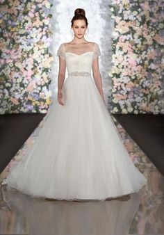 Tulle ball gown with ruched bodice, sweetheart neckline, and cap sleeves // 520 from Martina Liana Wedding Dresses