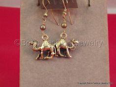 Gold Toned Camel Earrings