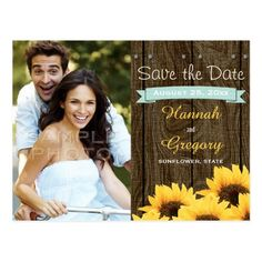 Yellow Save the Date Wedding Invitations AQUA RUSTIC SUNFLOWER SAVE THE DATE POSTCARD
