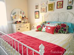 pretty vintage bedroom - great colors for girls