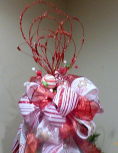 Red and White Glittered Tree topper  Ribbon topper  Tree