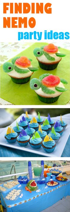 Finding Nemo Party Ideas. Made the turtle cupcakes one year, it was great :-)