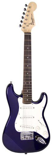 Squier by Fender Mini Strat Electric Guitar Bundle with Amp, Cable, Tuner, Strap, Winder, Picks, Austin Bazaar Instructional DVD, and Polishing Cloth - Blue.  Guitar Player Magazine Instrument Store Guitar Center Guitar Tabs For Beginners Air Guitar How To Play Electric Guitar Guitar Exercises Guitar Chords Band Instruments Guitar Notes Play The Guitar Guitar Scales