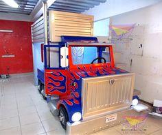Kids Room Furniture, Custom Furniture, Boy Car Room, Pallet Shelves Diy, Bunk Bed With Slide, Truck Bedroom, Boys Bedroom Themes, Optimus Prime, Automotive Decor
