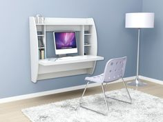 Optimize your space with Prepac's innovative and stylish wall mounted desk. Perfectly suited for any home office, den, living room, kitchen or entryway. Diy Computer Desk, Diy Desk, Gaming Desk, Small Computer, Kids Computer, Bureau Design, Home Office Furniture, Home Office Decor, Home Decor