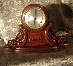Vintage Sessions Mantel Clock Carved  Wood by CoCoBlueTreasures,