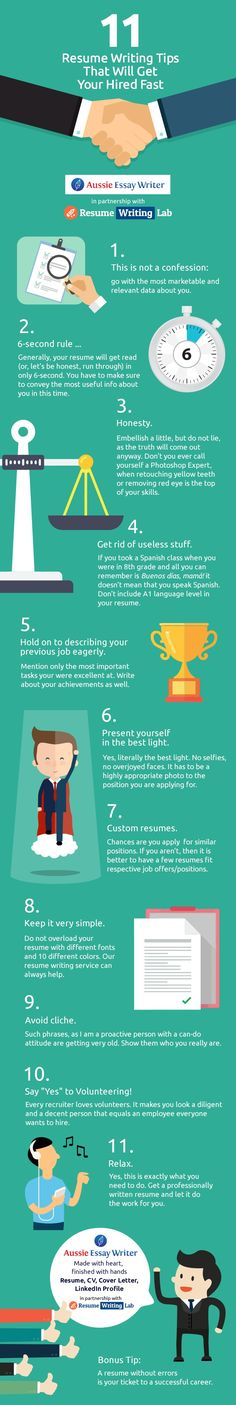 11 Resume Writing Tips That Will Get You Hired Fast Infographic - http://elearninginfographics.com/11-resume-writing-tips-will-get-hired-fast-infographic/