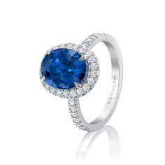 Boodles New Vintage oval blue sapphire engagement ring set in platinum with white diamonds. A modern day classic for a traditional bride with a twist. http://www.thejewelleryeditor.com/shop/product/boodles-new-vintage-oval-blue-sapphire-engagement-ring-diamonds/