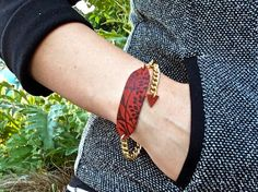 Leather Printed Bracelet & Solid Brass Chain, Oxblood Florance Print, Adjustable Size - SALE - see Listing for Coupon Codes...