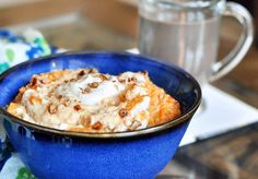 Pumpkin Breakfast in a bowl:  1/3 c canned pumpkin (or cooked pumpkin)  3/4 c milk of choice  1 cup flake cereal (I like spelt flakes, but bran, corn, etc will work. Some people have even used oatmeal!)  1/4 to 1/2 tsp pure vanilla extract  1/2 tsp cinnamon  1/8 tsp salt  sweetener (such as stevia, sugar, or even maple syrup)  optional: chocolate chips, pecans