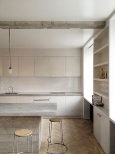 herringbone + tile + reclaimed wood + concrete counters by feilden fowles
