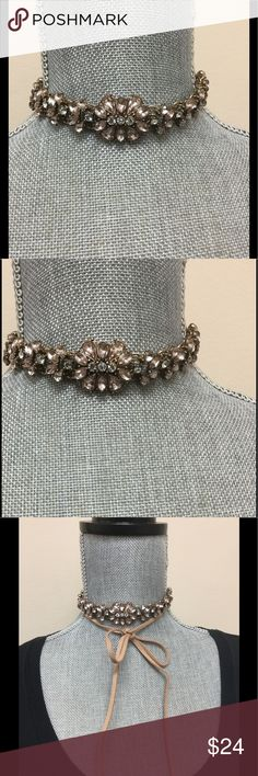 Gorgeous Rose Gold Crystal choker w/ Suede Ties Very pretty choker with beautiful crystals and a rose gold antiqued finish. Very sophisticated and romantic. Suede ties can be worn wrapped to front and tied for a more casual look or just tied in back out of site. Crystals are blush and clear. zokydoky Jewelry Necklaces