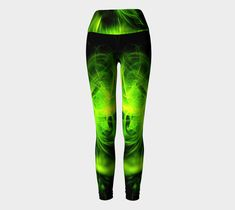 Green Flame Fractal yoga leggings by Tracey Lee Art Designs, Yoga Leggings by Tracey Lee Everington . Printed yoga style leggings to work out in comfort, with high foldover waistband Yoga Leggings, Yoga Pants, Yoga Fashion, Artwork Design, Leggings Fashion, Art Designs, Shops, Community, Workout