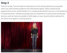Here is some more acting tips