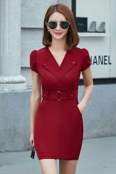 Pin by Svetlana Glushenko on Женская одежда in 2019 Simple Dresses, Casual Dresses, Short Dresses, Dresses For Work, Work Fashion, Asian Fashion, Dress Outfits, Fashion Dresses, Frack