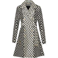 Diane von Furstenberg Michelle printed wool and silk-blend jacket ($500) ❤ liked on Polyvore