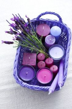 candles and lavender... the perfect basket of goodies to take into the bathroom for a nice long soak!