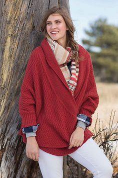 Voluptuous, luxurious, and enveloping, the White Mountain Ruana is a chic layer perfect for winter wanderings. The overlapping fronts can be worn loose or closed with snap fasteners and an I-cord tie. An easy-to-knit allover ripple rib pattern gives this ruana an elegant texture; garter stitch on the collar offers contrast to the body.
