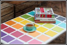 paint chip table top ~ could do a quilt pattern