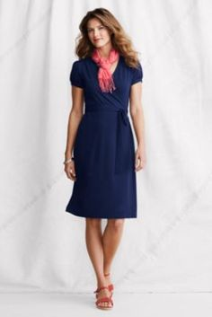 Women's Short Sleeve Cotton Modal Wrap Dress from Lands' End  Knee-length $54