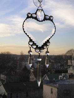 Heart Suncatcher  Beveled Heart with Clear by CreativeSpiritGlass, $40.00