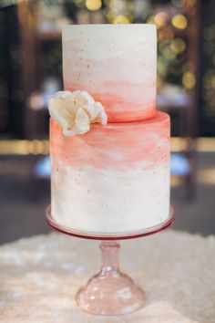 Coral watercolor wedding cake by Ma Petite Maison Cake Design