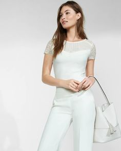 Mesh And Lace Yoke Fitted Tee | Express