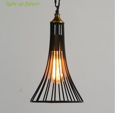 vintage American country iron pendent lights for bar/dining room Trumpet shape creative iron lamps E27 ac 90-265v N1238 #Affiliate