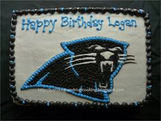 "Panthers Buttercream Cake from the ""JustLikeGrandmas"" blog."