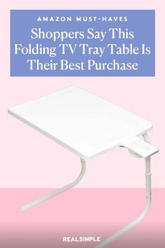 Amazon Shoppers Are Calling This Folding TV Tray Table the Best Buy They've Ever Made | Amazon shoppers say that this Table Mate Folding TV Tray Table, a foldable table with a built-in cup holder, is the best Amazon purchase they have ever made. It adjusts up and down for any level for sofas and chairs, and the top can tilt on an angle for reading or working, too. #decorideas #homedecor #decorinspiration #realsimple #smallspaceideas #apartmentideas Tv Tray Table, A Table, Decorating Small Spaces, Decorating Ideas, Folding Tv Trays, Cool Things To Buy, Things To Come, Amazon Purchases, Foldable Table