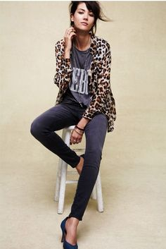 Grey jeans, a touch of leopard, and casual tee. A fun and funky casual look.