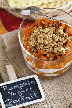 Breakfast recipe: healthy spiced pumpkin yogurt parfaits, layered with granola.