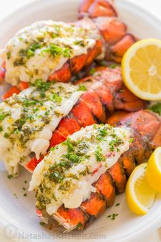 The ONLY Lobster Tails Recipe you'll need! Broiled lobster tails are juicy, flavorful, and quick to make! + How-To butterfly lobster tails photo tutorial! Baked Lobster Tails, Broiled Lobster Tails Recipe, Broil Lobster Tail, Cooking Lobster Tails, How To Cook Lobster, Lobster Tail Salad Recipe, Gastronomia, Gourmet, Seafood