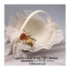 Cesta para Arras O Pétalos con Flores Secas. Complemento de Novia versátil, cesta para bodas tanto para las Arras o para llevar pétalos al altar.