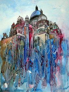 Sacre Coeur - Paris  - Original von abstrakte bilder und mehr von maria-mercedes auf DaWanda.com Watercolor painting