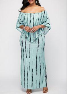 Long Maxi Dresses Printed Off the Shoulder Side Slit Overlay Dress Latest African Fashion Dresses, African Dresses For Women, Women's Fashion Dresses, Short Beach Dresses, Short Mini Dress, Modest Dresses, Maxi Dresses, Blue Dresses, Off Shoulder Lace Dress