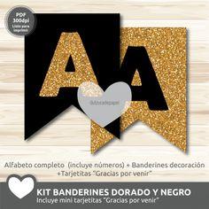 Kit imprimible Banderines Negro y dorado brillantina #imprimible #banderin #banderines #brillantina #kitimprimible #printable #pennant