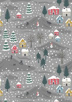 Your place to buy and sell all things handmade - Snow Day on Grey SNOW DAY, Lewis and Irene Fabric, Christmas Fabric, Woodland Fabric, Quilti - Christmas Fabric, Noel Christmas, Christmas Design, Christmas Crafts, Christmas Patterns, Illustration Noel, Christmas Illustration, Christmas Phone Wallpaper, Woodland Fabric