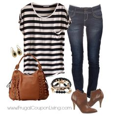 Frugal Fashion Friday Relaxed Weekend Outfit - Striped Black Shirt, Skinny Jeans, Cognac Boots and Jessica Simpson Bag. Mix Golds, Blacks and Browns. Polyvore Concept