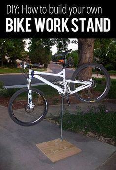 DIY: How to Build Your Own Bike Work Stand http://www.singletracks.com/blog/mtb-repair/how-to-build-your-own-bike-work-stand/ #bikerepairstand #howtorepairbike