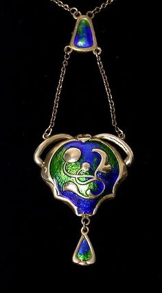 Charles Horner Arts and Crafts Enamel Pendant Necklace Chester 1911