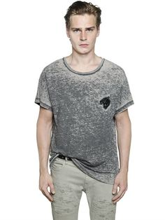 JUST CAVALLI TIGER PATCH COTTON JERSEY BLEND T-SHIRT, GREY. #justcavalli #cloth #t-shirts