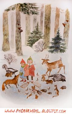 i heart this (from phoebe wahl) - you should offer prints!!  winter forest feast & fancy