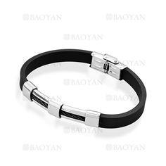 negro brazalete de goma en acero para hombre-SSBTG1204669