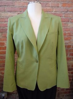 TALBOTS Celery Green Lightweight Cotton Silk Business Blazer Jacket Sz 14 AS IS #Talbots #Blazer