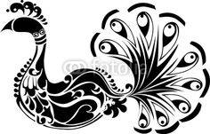 Wall Mural decorative peacock black and white - zoo • PIXERSIZE.