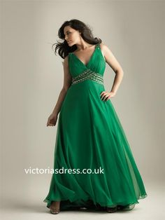 A-line V-neck Chiffon Green Plus Size Prom Dress